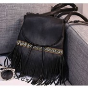 Folk Stripe Leisure Tassel Mixed Colors Clamshell Drawstring Backpack