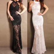 New Lace Halter Long Party Dress Evening Dress