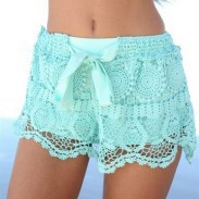 Sweet Geometry Pattern Bow Lace Shorts