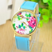 Girls Ladies Elegant Rose Metal PU Watch