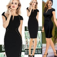 Elegant Rivet Black Cocktail Pencil Dresses
