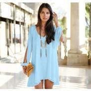 Loose Deep V Slit Long Sleeve Irregular Cut Chiffon Dress