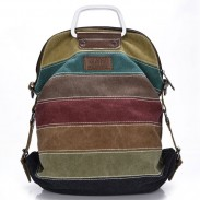 Retro Splicing Colorful Striped Canvas Backpack School Shoulder Bag Handbag Multifunctional Backpacks