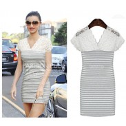 Fashion Lace V-Neck Stripe Dress