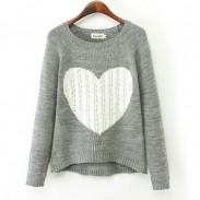 Heart Pattern Irregular Cut Knit Cardigan Sweater