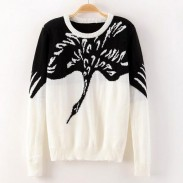 Crane Animal Pattern Sweater Cardigan