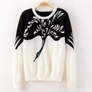 Crane Animal Pattern Sweater Cardigan
