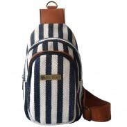 Unisex Retro Durable Leisure Striped Canvas Shoulder Bag Messenger Bag Sports Bag Chest Pockets