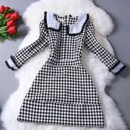 Slim Cut Doll Collar Houndstooth Dress