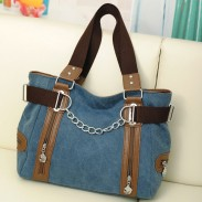 Retro Double Zipper Chain Decorative Splicing Shoulder Bag Leisure Large Capacity Canvas Handbag