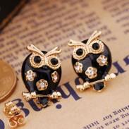 Cute Black Owl Hollow Flower Earrings Studs/Jewelry