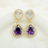 Water Drop Zircon Rhinestone Ear Studs