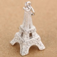 Romantic Eiffel Tower Silver Zircon Pendant Women Necklace