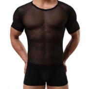 Sexy Mesh See Through Whole Color Zephyr Sport T-shirt Men Lingerie