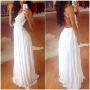 White Backless Lace Chiffon Long Dress
