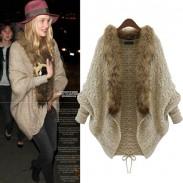 Bat Sleeve Fur Collar Shawl Sweater Cardigan Jacket