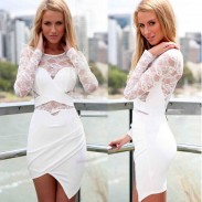 Sexy Long Sleeve Irregular Splicing Lace Dress