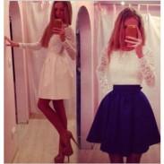 Sweet Bow Crochet Lace Women Dress