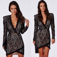 Sexy Deep V Irregular Long Sleeve Black Lace Dresses