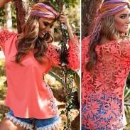 Long Sleeve Hollow Crochet Chiffon Lace Top Blouse