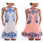Blue White Porcelain Printed Sleeveless Dresses
