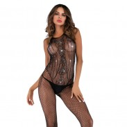 Sexy Flash Diamond Sequins Open Gear Conjoined Fishnet Stockings Female Lingerie