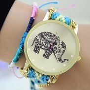 Hollow Elephant Woolen Braided Bracelet Watch