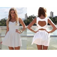 Pure Style Hollow Heart Back Pleated Dresses