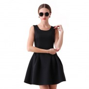 Elegant Retro Striped Sleeveless Space Cotton Vest Skirt