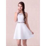 Unique Sleeveless Stitching Striped White Dress