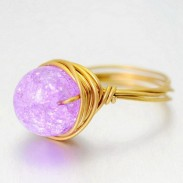 Natural Handmade Braided Jelly Color Crystal Ball Brass Rings