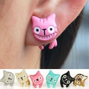 Sweet Style Colorful 3D Animal Cat  Smiley Earrings
