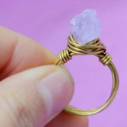 Original Natural Asymmetrical Amethyst Handmade Brass Braided Rings
