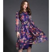 New High-end Owl Printing Long Dress