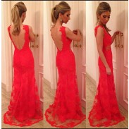 Graceful Red Lace Halter Sexy Party Dress