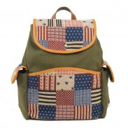 Western style US Flag Retro Stripe Canvas School Bag Backpack