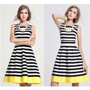 Strapless Round-Neck Stripe Slim Dress