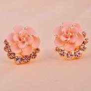 Elegant Camellia Rhinestone Earrings&Stud
