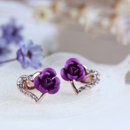 Shining Rose Heart Rhinestone Studs Earrings