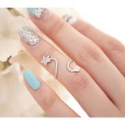 Unique Bright Rhinestone Flower Spiral Pentagram Ring