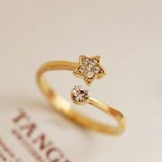 Fresh Cute Diamond Star Opening Ring
