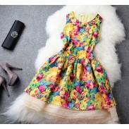 Unique Fresh Floral Silk Dress&Party Dress