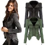 Fashion Rivet Irregular Hem Zipper Denim Dovetail Coat