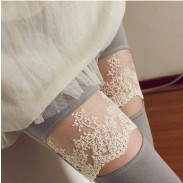 Fresh Floral Lace Openings Laugh  Paneled Leggings