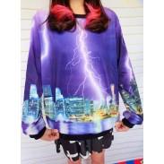 Unique Purple Lightning Printed Gradient Sleeve Sweater
