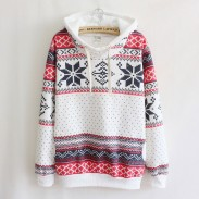 Women's Long-sleeved Thick Snowflakes Stamping Hooded Sweater