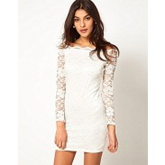 Fashion Strapless Boat Neck Lace Slim Dress&Party Dress