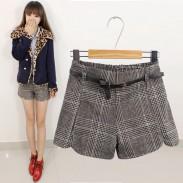 Vintage Plaid High Waist Woolen Shorts