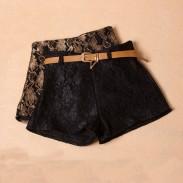 Unique Crochet Woolen Shorts With Belt