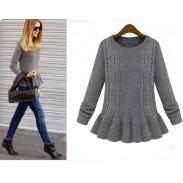 New Vintage Twist Leaf  Pendulum Slim Sweater&Cardigan
